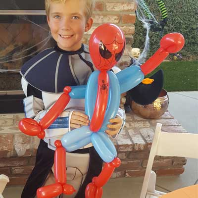 kids birthday party magician Spider-Man-web